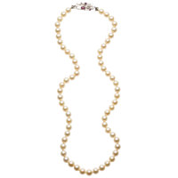 Diamond, Ruby, Cultured Pearl, White Gold Necklace