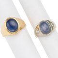 Estate Jewelry:Rings, Gentleman's Star Sapphire, Diamond, Gold Rings. ... (Total: 2Items)