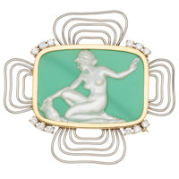 Diamond, Chrysoprase, Mother-of-Pearl, Platinum, Gold Brooch