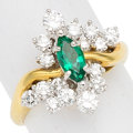 Estate Jewelry:Rings, Emerald, Diamond, 18k Gold Ring. ...