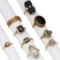 Estate Jewelry:Rings, Diamond, Multi-Stone, Seed Pearl, Gold, Yellow Metal Rings. ...(Total: 9 Items)