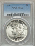 Peace Dollars: , 1924 $1 MS66 PCGS. PCGS Population: (731/35). NGC Census:(1300/88). CDN: $380 Whsle. Bid for problem-free NGC/PCGS MS66.M...