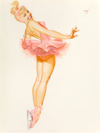 George Petty (American, 1894-1975) Back Bend on Toes Ballet, Ice Capades, 1962 Watercolor on paper