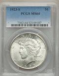 Peace Dollars: , 1923-S $1 MS64 PCGS. PCGS Population: (2232/159). NGC Census:(1896/81). CDN: $330 Whsle. Bid for problem-free NGC/PCGS MS6...