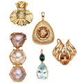 Estate Jewelry:Pendants and Lockets, Multi-Stone, Diamond, Gold Enhancer-Pendants . ... (Total: 5 Items)