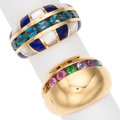 Estate Jewelry:Rings, Multi-Stone, Mother-of-Pearl, Gold Rings . ... (Total: 2 Items)