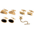 Estate Jewelry:Cufflinks, Multi-Stone, Gold Cuff Links and Shirt Pin . ... (Total: 4 Items)