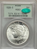 Peace Dollars: , 1928-S $1 MS63 PCGS. CAC. PCGS Population: (2183/2074). NGC Census:(1348/1315). CDN: $380 Whsle. Bid for problem-free NGC/...