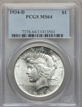 Peace Dollars: , 1934-D $1 MS64 PCGS. PCGS Population: (1433/585). NGC Census:(789/258). CDN: $475 Whsle. Bid for problem-free NGC/PCGS MS6...