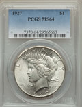 Peace Dollars: , 1927 $1 MS64 PCGS. PCGS Population: (2114/381). NGC Census:(1081/127). CDN: $400 Whsle. Bid for problem-free NGC/PCGS MS64...
