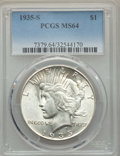 Peace Dollars: , 1935-S $1 MS64 PCGS. PCGS Population: (1606/919). NGC Census:(912/472). CDN: $550 Whsle. Bid for problem-free NGC/PCGS MS6...