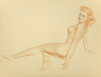 Alberto Vargas (American, 1896-1982) Reclining Nude, preliminary Watercolor and pencil on paper laid