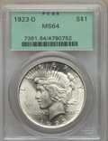 Peace Dollars: , 1923-D $1 MS64 PCGS. PCGS Population: (1555/581). NGC Census:(1037/259). CDN: $320 Whsle. Bid for problem-free NGC/PCGS MS...