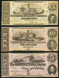 Confederate Notes:Group Lots, CSA - Lot of 3 December 2, 1862 Treasury Notes.. ... (Total: 3notes)