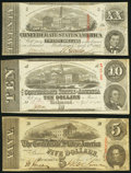 Confederate Notes:Group Lots, CSA - Lot of 3 April 6, 1863 Treasury Notes.. ... (Total: 3 notes)