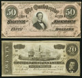 Confederate Notes:Group Lots, CSA - Lot of 2 February 17, 1864 Treasury Notes.. ... (Total: 2notes)