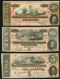 Confederate Notes:Group Lots, CSA - Lot of 3 February 17, 1864 Treasury Notes with Red Tints..... (Total: 3 notes)