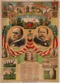 Political:Posters & Broadsides (1896-present), McKinley & Hobart: Colorful Jugate Little Red Schoolhouse Poster....