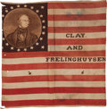 Political:Textile Display (pre-1896), Henry Clay: A Striking 1844 Campaign Flag Banner....