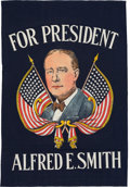 Political:Textile Display (1896-present), Al Smith: Colorful Silk Screen Banner....