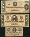 Confederate Notes:Group Lots, CSA - Lot of 3 February 17, 1864 Treasury Notes.. ... (Total: 3notes)
