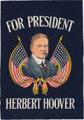 Political:Textile Display (1896-present), Herbert Hoover: Colorful Silk Screen Banner....