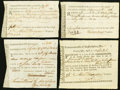 Colonial Notes:Virginia, Colonial American Fiscal Paper - Lot of 4 Commonwealth ofMassachusetts Treasury-Office Forms.. ... (Total: 4 notes)