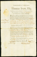 Colonial Notes:Virginia, Colonial American Fiscal Paper - Thomas Ivers, Esq [for the] Commonwealth of Massachusetts, Boston Resolve of July 10, 1783 Fo...
