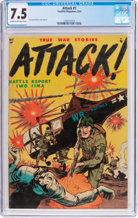 Attack #1 (Youthful Magazines, 1952) CGC VF- 7.5 Cream to off-white pages