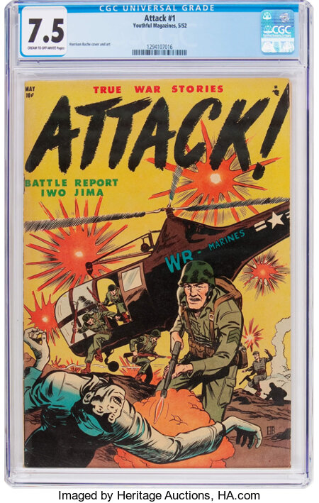 Attack #1 (Youthful Magazines, 1952) CGC VF- 7.5 Cream to off-white pages....