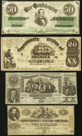 Confederate Notes:Group Lots, CSA - Lot of 4 1861 and 1862 Imitation Notes.. ... (Total: 4 notes)