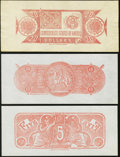 Confederate Notes:Group Lots, CSA - Lot of 3 Lower-Denomination Chemicograph Backs Proposed for1864 Notes.. ... (Total: 3 notes)