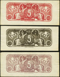Confederate Notes:Group Lots, CSA - Lot of 5 Chemicograph $5 Back Color Trials Proposed for 1864Notes.. ... (Total: 5 notes)