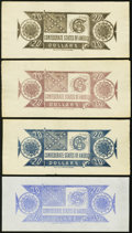 Confederate Notes:Group Lots, CSA - Lot of 4 Chemicograph $20 Back Color Trials Proposed for 1864Notes.. ... (Total: 4 notes)