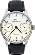 Timepieces:Wristwatch, IWC Ref. 5001 Very Fine Portuguese Automatic 7 Days Steel Wristwatch. ...