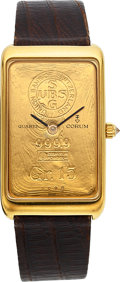 Timepieces:Wristwatch, Corum 18k Gold Large Gr. 15 Gold Ingot Watch. ...
