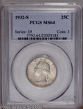 Washington Quarters: , 1932-S 25C MS64 PCGS. NGC Census: (457/55). Mintage: 408,000.Numismedia Wsl. Price: $2,225. (#5792)...