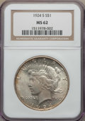 Peace Dollars: , 1924-S $1 MS62 NGC. NGC Census: (810/1783). PCGS Population:(989/3078). Mintage 1,728,000. ...