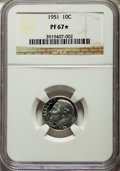 Proof Roosevelt Dimes, 1951 10C PR67 ★ NGC. This lot will also include a: 1954 10C PR67 ★NGC. ... (Total: 2 coins)