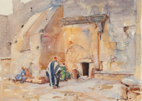 Dean Cornwell (American, 1892-1960) Church of the Nativity in Bethlehem, 1925 Watercolor on paper