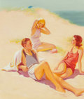 Mainstream Illustration, Russell Sambrook (American, 1891-1956). Day at the beach.Oil on canvas. 30.5 x 26.25 in.. Signed lower right. ...