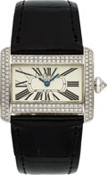 Timepieces:Wristwatch, Cartier Very Fine White Gold & Diamond Lady's Tank Divan. ...