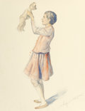 Other, German School (20th Century). Girl with Teddy Bear. Watercolor and pencil on paper. 14 x 11 in. (sheet). Signed indistin...