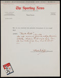"Autographs:Letters, Waite Hoyt Signed ""The Sporting News"" Questionnaire. ..."