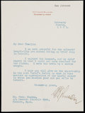 Autographs:Letters, 1921 Ban Johnson Signed Typed Letter. ...