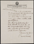 Autographs:Letters, 1939 Connie Mack Handwritten Signed Letter....