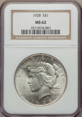 Peace Dollars: , 1928 $1 MS62 NGC. NGC Census: (1692/2736). PCGS Population:(2016/4980). Mintage 360,649. ...