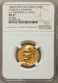 U.S. Presidents & Statesmen, 1964 Medal Lyndon B. Johnson, Italy Gold, U.S. President by Affer,MS67 NGC. 21 mm, 8.5 Grams...