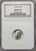 Roosevelt Dimes, 1955-S 10C MS67 Full Bands NGC. NGC Census: (22/0). PCGS Population: (11/0). Mintage 18,510,000. ...