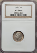 Roosevelt Dimes, 1955 10C MS67 Full Bands NGC. NGC Census: (17/0). PCGS Population: (14/0). Mintage 12,400,000. ...